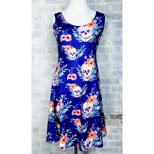 Cow Cow Skulls and Flowers Womens Blue Poly Dress